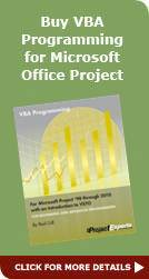 VBA Progamming for Microsoft Project